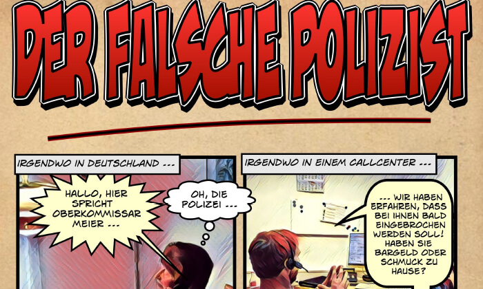 Comic Falscher Polizist
